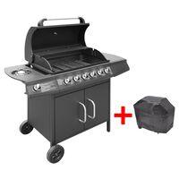 vidaXL Gas Barbecue Grill 6+1 Cooking Zone Black