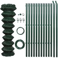 vidaXL Chain Link Fence with Posts Steel 1.5x25 m Green