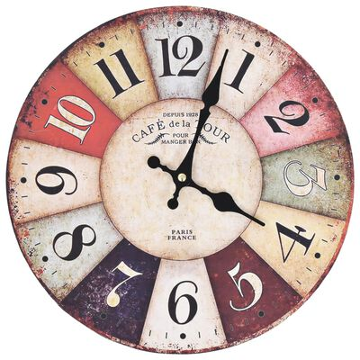 vidaXL Vintage Wall Clock Colourful 30 cm
