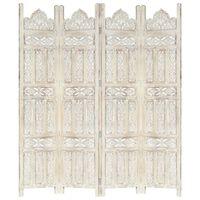 vidaXL Hand carved 4-Panel Room Divider White 160x165 cm Solid Mango Wood