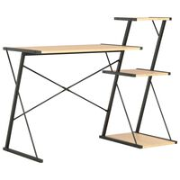 vidaXL Desk with Shelf Black and Oak 116x50x93 cm