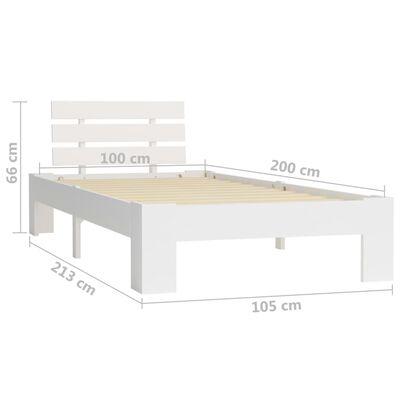 vidaXL Bed Frame White Solid Pine Wood 100x200 cm
