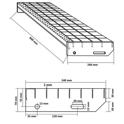 vidaXL Stair Treads 4 pcs Press-locked Galvanised Steel 800x240 mm