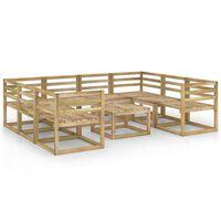 vidaXL 9 Piece Garden Lounge Set Green Impregnated Pinewood