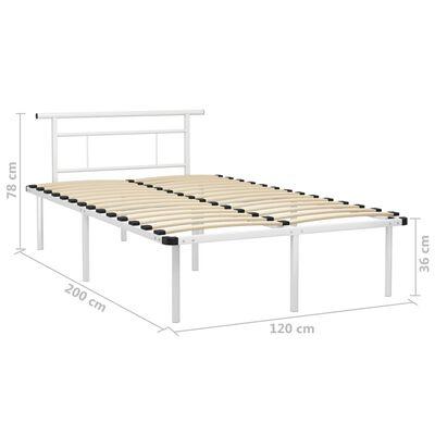 vidaXL Bed Frame White Metal 120x200 cm