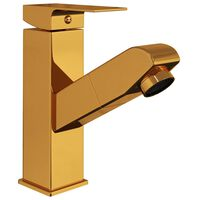 vidaXL Bathroom Basin Faucet with Pull-out Function Gold 157x172 mm