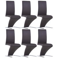 vidaXL Dining Chairs with Zigzag Shape 6 pcs Brown Faux Leather