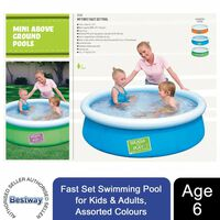 Bestway Fast Set Swimming Pool, 6x20 For Kids&adults, Assorted Colours
