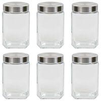 vidaXL Storage Jars with Silver Lid 6 pcs 1700 ml