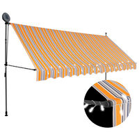 vidaXL Manual Retractable Awning with LED 400 cm Yellow and Blue