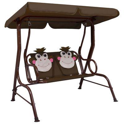 vidaXL Kids Swing Bench Brown 115x75x110 cm Fabric