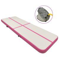vidaXL Inflatable Gymnastics Mat with Pump 400x100x20 cm PVC Pink
