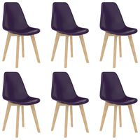 vidaXL Dining Chairs 6 pcs Purple Plastic