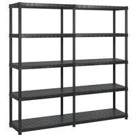 vidaXL Storage Shelf 5-Tier Black 183x45.7x185 cm Plastic