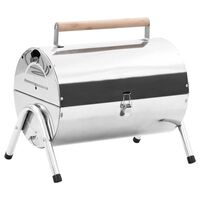 vidaXL Portable Tabletop Charcoal BBQ Grill Stainless Steel Double Grids