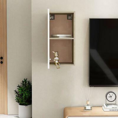vidaXL TV Cabinet White and Sonoma Oak 30.5x30x60 cm Chipboard