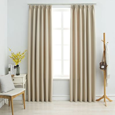 vidaXL Blackout Curtains with Hooks 2 pcs Beige 140x245 cm