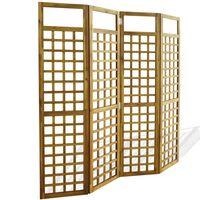 vidaXL 4-Panel Room Divider / Trellis Solid Acacia Wood 160x170 cm
