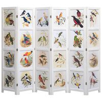 vidaXL 6-Panel Room Divider White 210x165 cm Bird