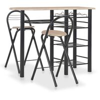 vidaXL 3 Piece Bar Set with Shelves Wood and Steel