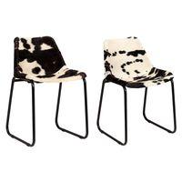vidaXL Dining Chairs 2 pcs Genuine Goat Leather