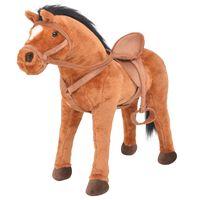 vidaXL Standing Toy Horse Plush Brown
