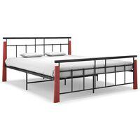 vidaXL Bed Frame Metal and Solid Oak Wood 160x200 cm