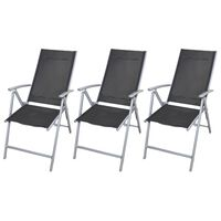 vidaXL Folding Garden Chairs 3 pcs Aluminium Black