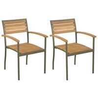 vidaXL Stackable Outdoor Chairs 2 pcs Solid Acacia Wood and Steel