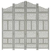 vidaXL Hand carved 4-Panel Room Divider Grey 160x165 cm Solid Mango Wood