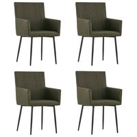 vidaXL Dining Chairs with Armrests 4 pcs Brown Fabric