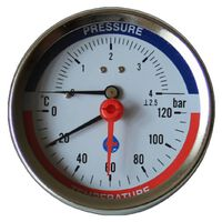 80mm 0-120C 0-2,5 Bar Rear Entry Pressure Gauge 1/2 Inch