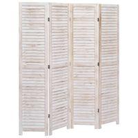 vidaXL 4-Panel Room Divider White 140x165 cm Wood