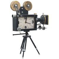 vidaXL Table Clock Black 34x18x47 cm Iron and MDF