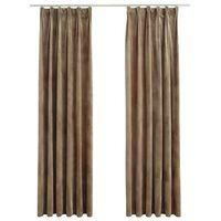 vidaXL Blackout Curtains 2 pcs with Hooks Velvet Beige 140x245 cm