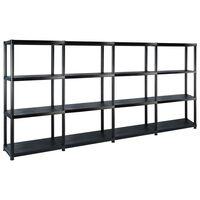 vidaXL Storage Shelf 4-Tier Black 244x30.5x130 cm Plastic