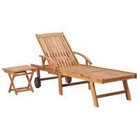 vidaXL Sun Lounger with Table Solid Teak Wood