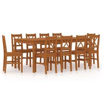 vidaXL 11 Piece Dining Set Pinewood Honey Brown