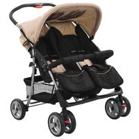 10156 vidaXL Baby Twin Stroller Taupe and Black Steel