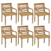 vidaXL Batavia Chairs 6 pcs Solid Teak Wood