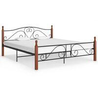 vidaXL Bed Frame Black Metal 200x200 cm