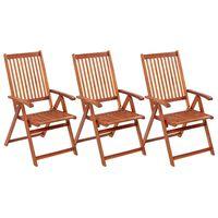 vidaXL Folding Garden Chairs 3 pcs Solid Acacia Wood
