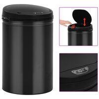 vidaXL Automatic Sensor Dustbin 30 L Carbon Steel Black