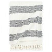 vidaXL Throw Cotton Stripe 220x250 cm Anthracite