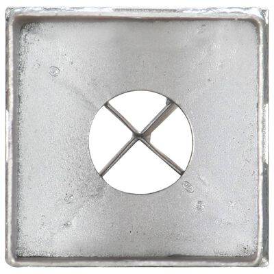 vidaXL Ground Spikes 2 pcs Silver 8x8x76 cm Galvanised Steel