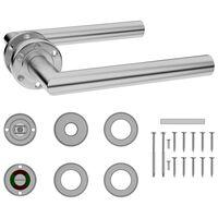 vidaXL Door Handle Set with WC Lock Stainless Steel