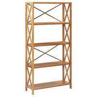 vidaXL 5-Tier Shelf 80x30x163.5 cm Solid Oak Wood