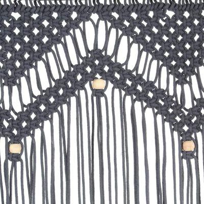vidaXL Macrame Curtain Anthracite 140x240 cm Cotton