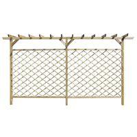 vidaXL Garden Lattice Fence with Pergola Top Wood