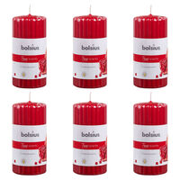 Bolsius Ribbed Pillar Scented Candles 6 pcs 120x58 mm Pomegranate